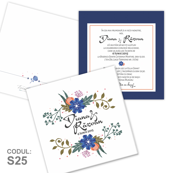 Invitatie Nunta S25 Floral Natural