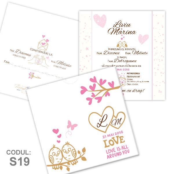 Invitatie Nunta S19 Love Birds