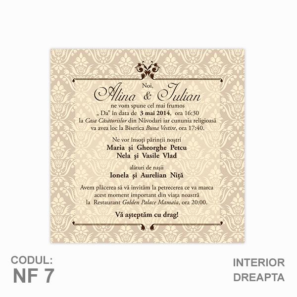 Invitatie Nunta Nf7 Pliata