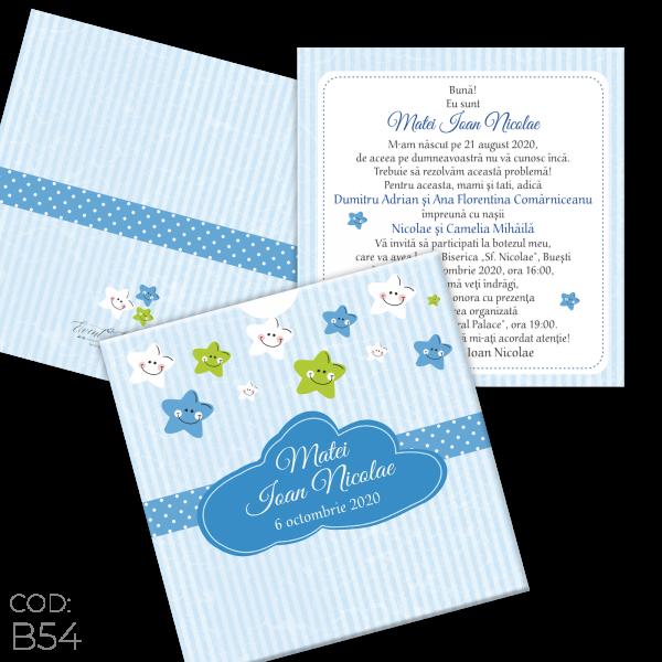 Invitație Botez B54 Steluțe Little Stars