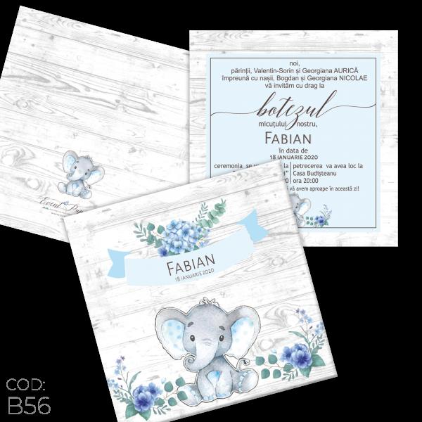 Invitație Botez B56 Elefant Floral