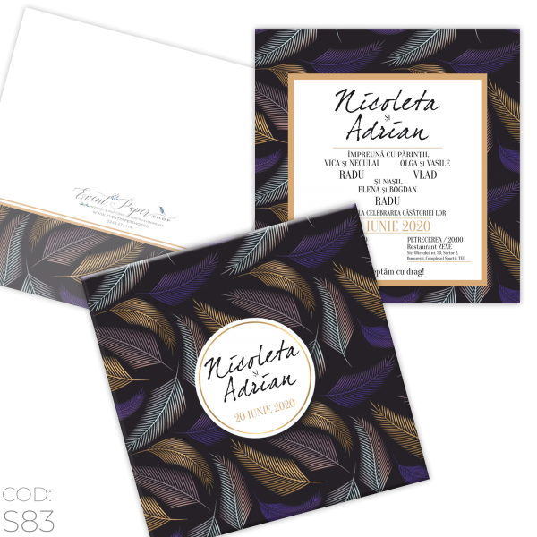 Invitație Nuntă S83 Pene